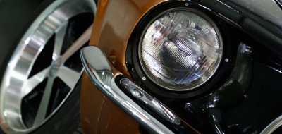 Ford Mustang 1967 headlight closeup view