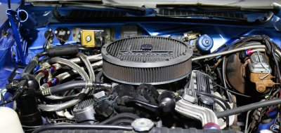 Plymouth Barracuda 1973 under the hood